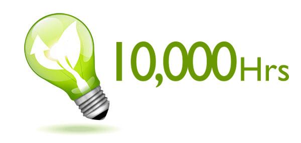 10000 ساعت طول عمر لامپ در حالت صرفه جویی