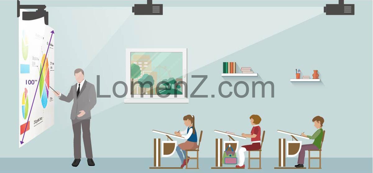 تصویری از فاصله دانش آموز تا پرده نمایش