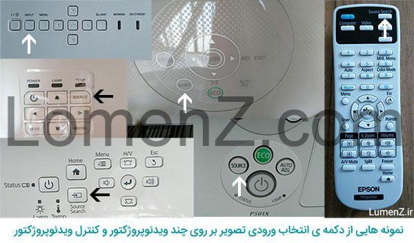 نمونه هایی از دکمه های انتخاب ورودی تصویر بر روی چند ویدئو پروژکتور